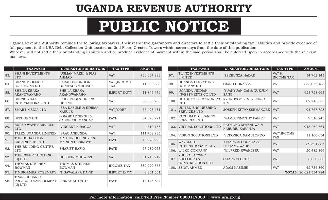 SHAME! URA Names Top 100 Tax Defaulters » Business Focus